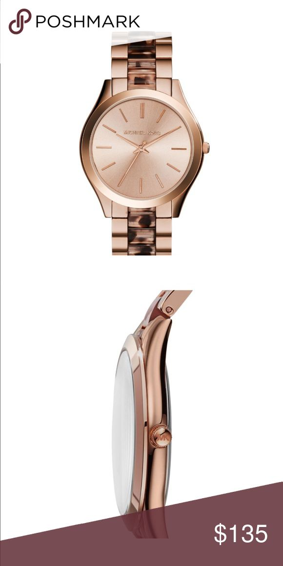 🆕 Michael Kors Rose Gold-Tone Slim Runway Watch 🆕 Michael Kors Rose Gold-Tone Slim Runway Watch Original Price $225.00 Rose gold-tone plating and tort acetate give the classically cool Michael Kors' Slim Runway watch wear-anywhere appeal.   Case Size 42 mm Case Thickness 8 mm Band Width 12 mm Water Resistant 5 ATM Warranty 2 Year International Michael Kors Accessories Watches