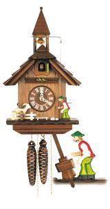 Relógio de Cuco<br>Pequena Casa da Floresta Negra com sineiro e caprino movendo