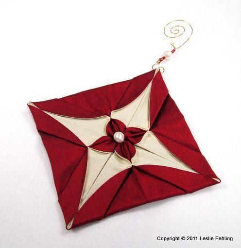 Silk origami Christmas ornaments