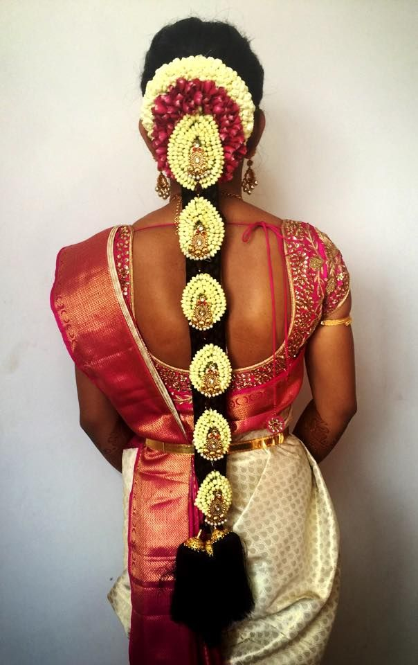 www.sameepam.com   Traditional Southern Indian bride's bridal braid hair. Hairstyle by Swank Studio. #SilkSaree #Blouse #Design #HairAccessory  Find us at https://www.facebook.com/SwankStudioBangalore
