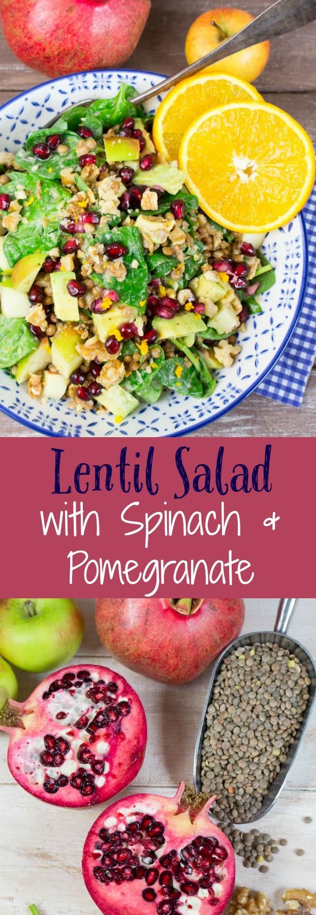 Super easy vegan lentil salad with spinach, pomegranate, apples, avocado, and walnuts. It's all topped off with an orange tahini dressing. Extremely delicious and packed with nutrients. Perfect for fall! #vegan #lentils #lentilsalad #spinachsalad #tahinidressing #pomegranate