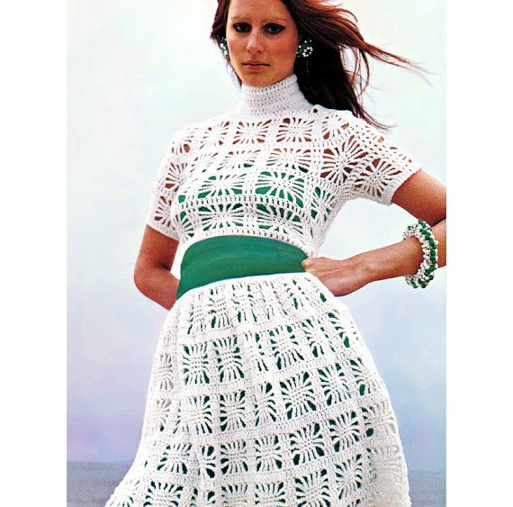 Vintage #1960s #Vogue Lacy Midriff Top #Boho Peasant Skirt Crochet Pattern PDF. 4.00, via Etsy.