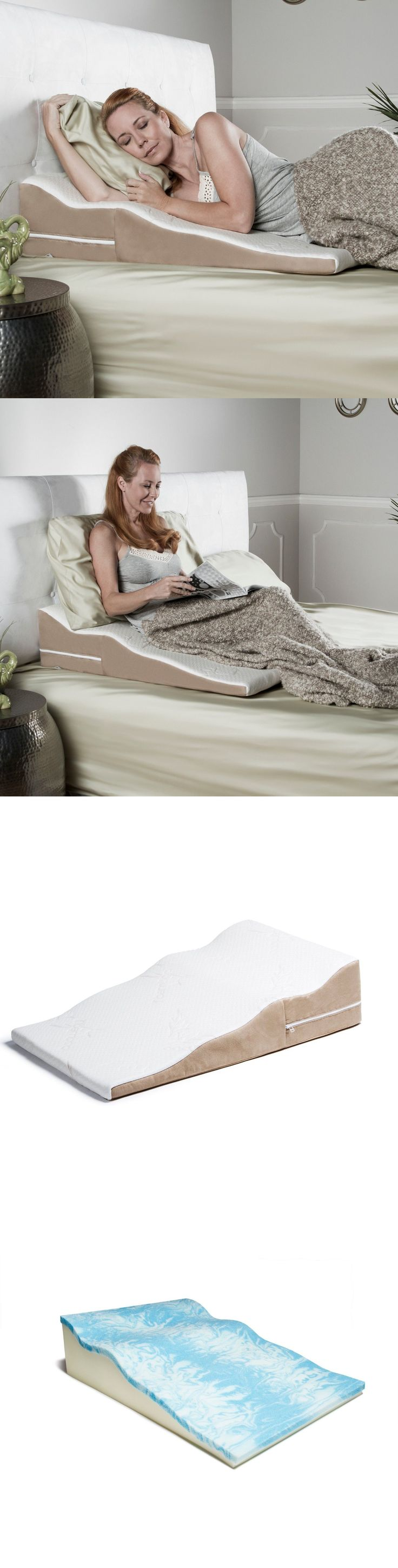 Bed wedge under mattress - Wedges And Bed Positioners Avana Contoured Bed Wedge Pillow With Cool Gel Memory Foam And