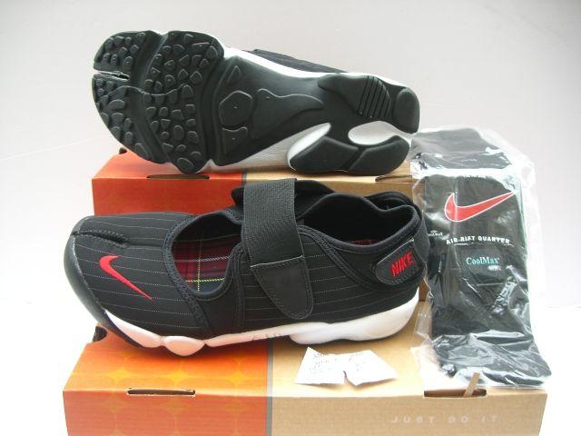 Womens Nike Air Rift Black Red Stripe