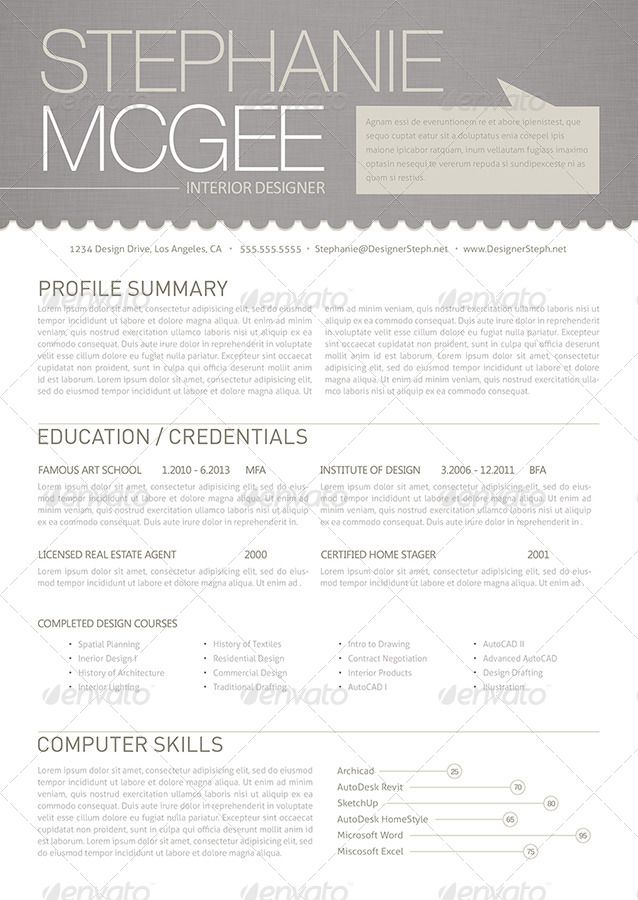 Clean and Modern Interior Designer Resume | GraphicRiver
