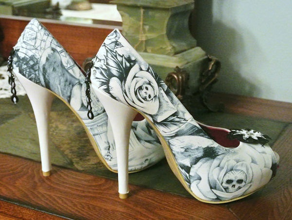 Heels Skulls Pumps Roses Peep Toe Shoes Pinup Gothic Rockabilly Rocker Peacock Studs Jewels Size 8. $55.00, via Etsy.