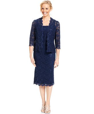Alex Evenings Sleeveless Sequin Lace Sheath and Jacket