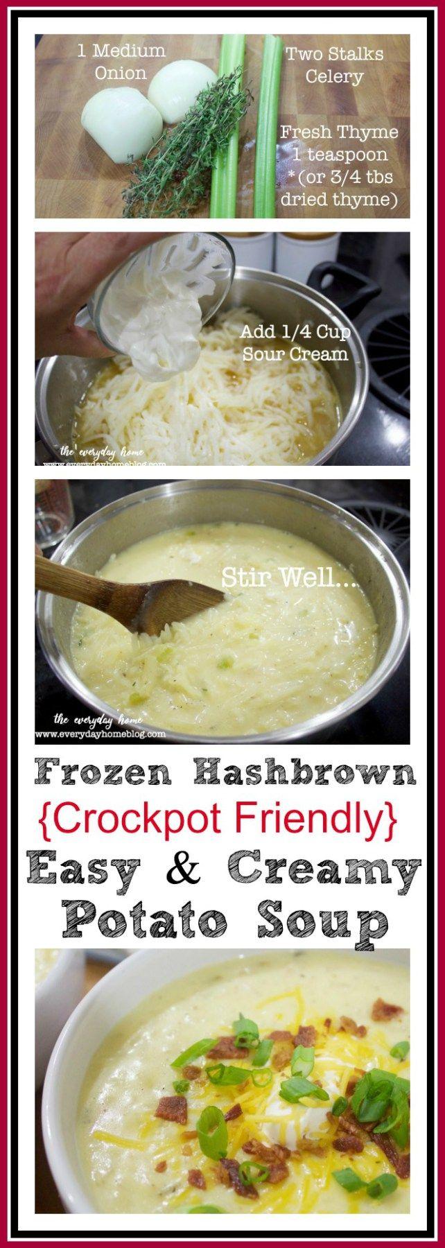 Frozen Hashbrowns Potato Soup | The Everyday Home | www.everydayhomeblog.com #crockpotrecipe