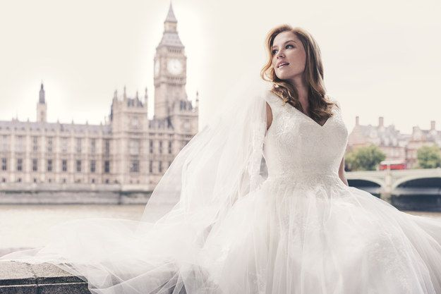 David's Bridal's new spring ad campaign features beautiful wedding dresses, gorgeous London scenery, and the stunning Mercy Watson