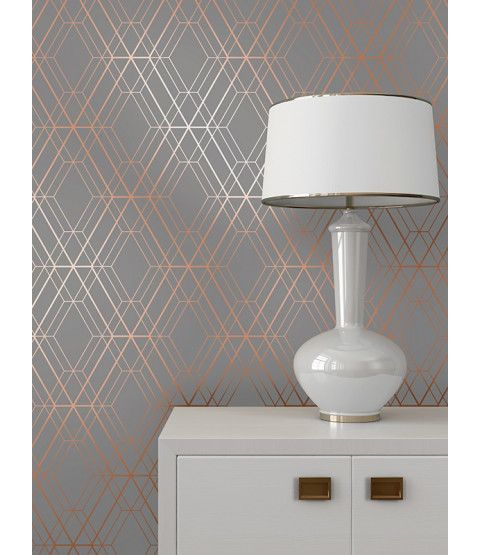 This Metro Diamond Geometric Wallpaper in Charcoal and Copper features contemporary metallic elements. Part of the World of Wallpaper Metro Collection. Free UK delivery available.