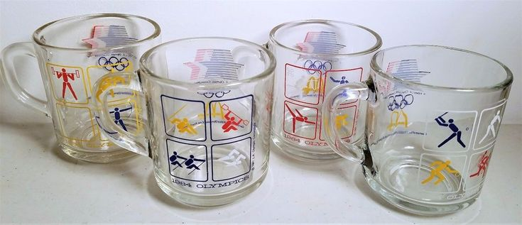 1984 Vintage Olympics McDonald's Coffee Cups-Mugs Complete Set of 4 #McDonalds