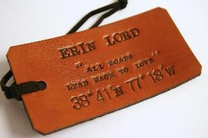 luggage tag. my name is ammi.: Leather Crafts, Leather Stamps, Custom Leather, Gifts Ideas, Leather Luggage, Excel Ideas, Leather Embossing Luggage, Leather Diy, Luggage Tags