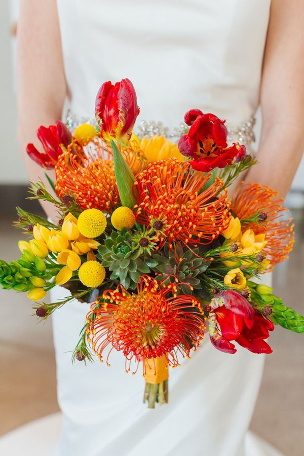 Featured photo: Mary Wyar; Colorful Mod Wedding Inspiration Shoot - bridal bouquet. photo: Mary Wyar
