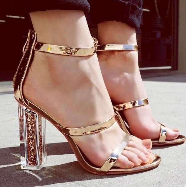 1ed3906fd0160 Womens Sexy Glitter Metallic Ankle Strap Peep Toe Transparent Block Heels  Sandal