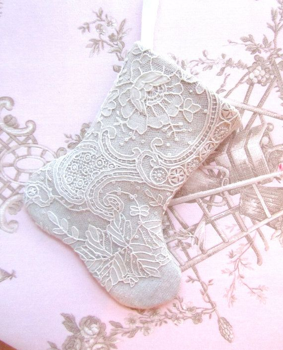 Antique lace and linen mini stocking to stuff with goodies by xmasmuse