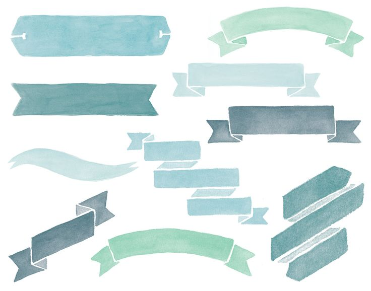 Watercolor Banners Clipart Overlays