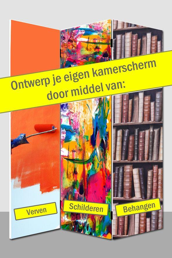 Ontwerp je eigen Kamerscherm. Beplakken, Verven of Behangen! http://www.canvasscherm.nl/kamerscherm-wit-blanco.html #DIY #Kamerscherm