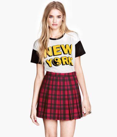 Thin A plaid skirt