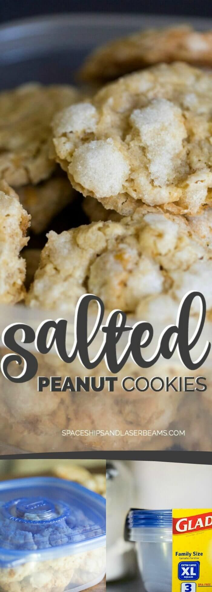 Salted Peanut Cookies via @spaceshipslb #Glad2WasteLess @gladproducts #ad