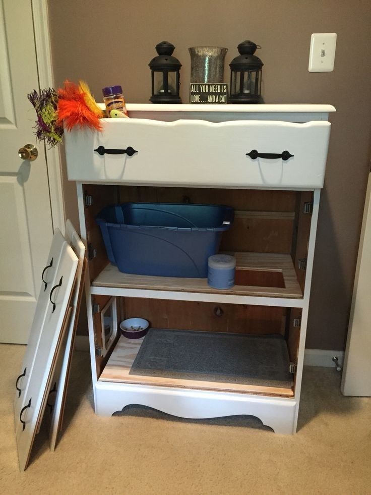 Diy Litter Box Cabinet Catcareremedies Litter Box Furniture