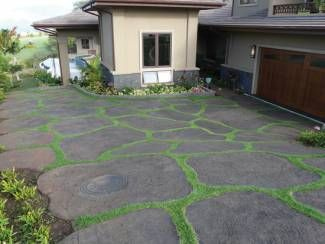 Concrete stamped rocks