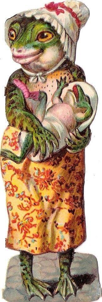 Oblaten Glanzbild scrap cut  chromo Frosch frog humanisiert vermenschlicht comic