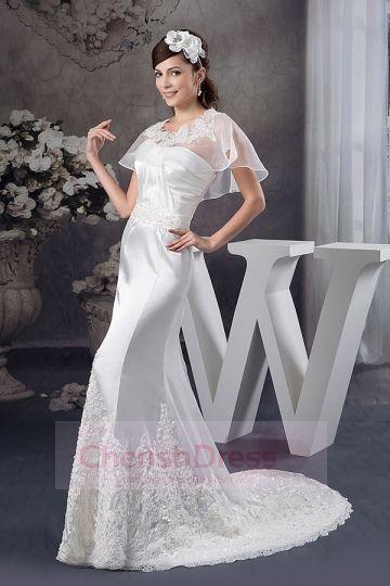 Sheath Pleats Appliques Beading Lace Court Train Wedding Dress - Wedding Dresses - WEDDING APPAREL