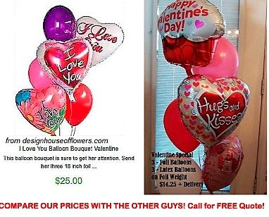 We have the BEST prices in town for Balloon Bouquet delivery! Special Delivery prices for Valentines!