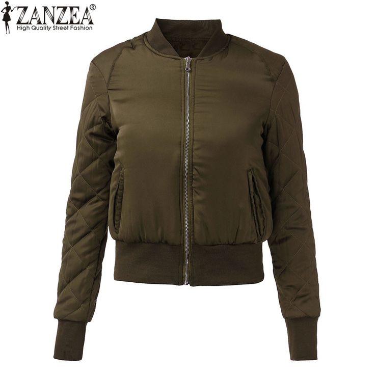 Zanzea 2016ファッション女性冬暖かいキルティングジッパースタンド襟スリムコートジャケットパッド入り爆撃機短いアウタートップ6色
