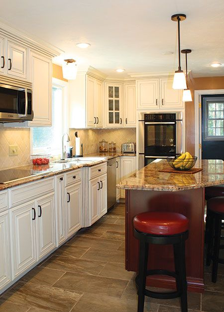 273 best granite with white cabinets images on pinterest for Cherry bordeaux kitchen cabinets