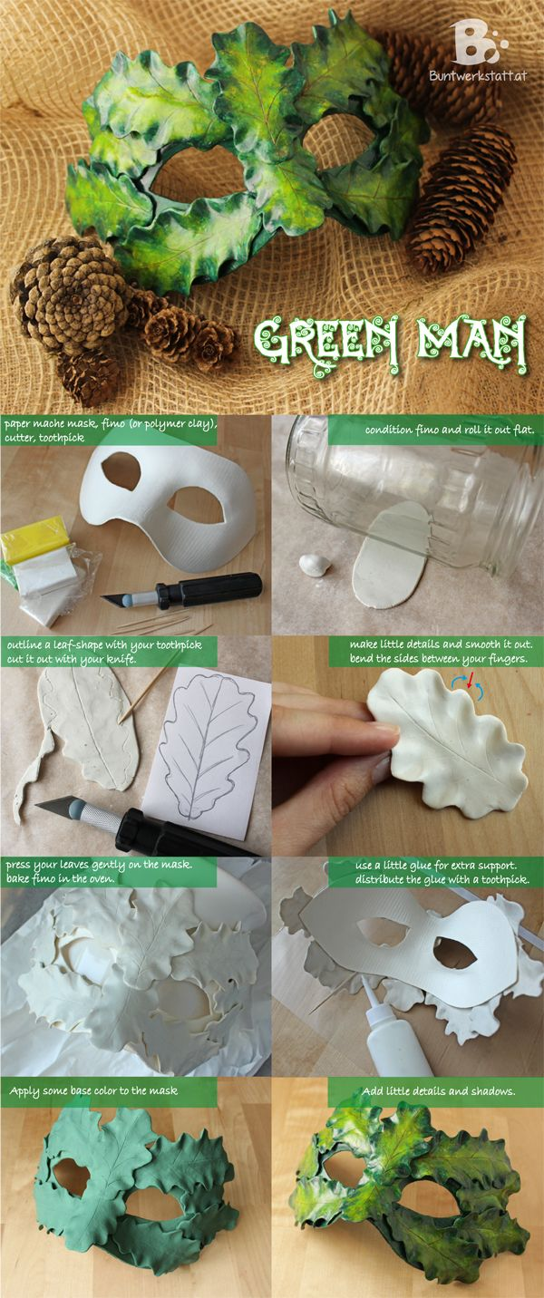 Easy DIY tutorial on how to make a green man mask with polymer clay (fimo) and a paper mache mask. You'll want to make one too!