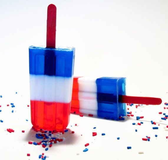 Red white and blue Popsicle Soap by LatherRinseClean on Etsy, $5.00