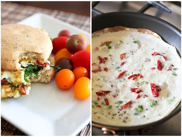 Kicked Up Spinach and Sun Dried Tomato Omelet Sandwich | Recipe