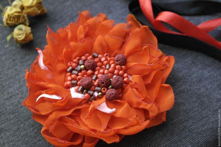 Купить брошь цветок Фантазия роз - ярко-красный, оранжевый, брошь ручной работы