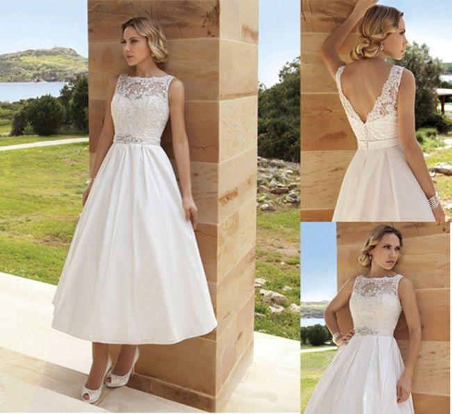 New Romantic Vintage Lace Themed Tea Length Wedding Dresses Bridal Gown Size