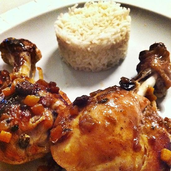 pollo in salsa teriyaki glassato alla soia e riso basmati