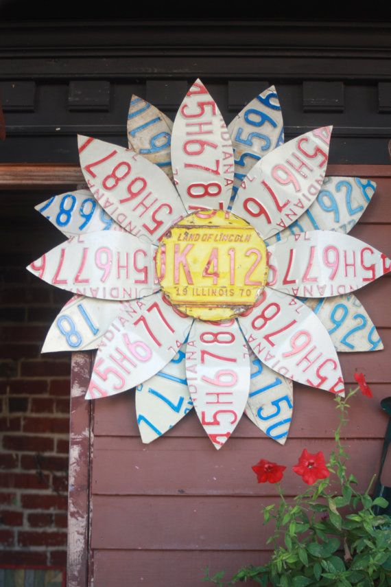 folk art authentic License Plate Flower