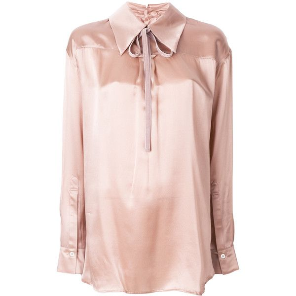 Ann Demeulemeester metallic fitted blouse (€575) ❤ liked on Polyvore featuring tops, blouses, silk blouse, ann demeulemeester top, silk top, metallic blouse and pink blouse