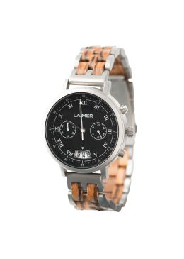 Our LEON is a masculine and cool chronograph that completes your uncomplicated look. The material mix of Zebrano wood, the dial made of slate stone and the stainless steel case, make this watch to a must have for every stylish man, who is as well environmentally conscious. The roman numerals and the functional display of the date rounds off the casual look.