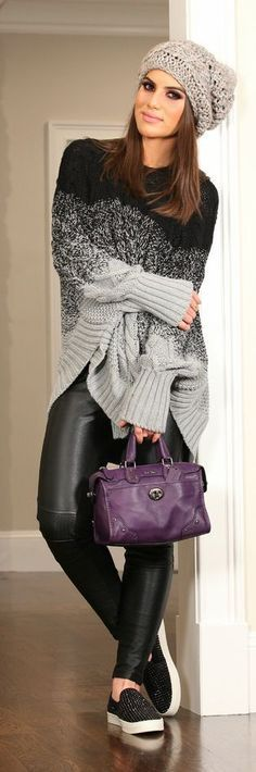 Grey To Black Outfits • Loose Cable Knit Sweater • Black Leather Skinnies • Purple Leather Handbag • Snakers • Grey Warm Cap •