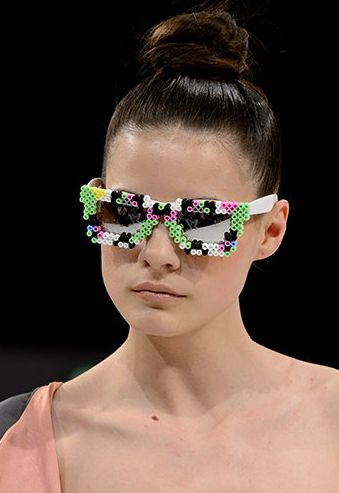 A model for the Imogen Stubbs show hits the runway in hama bead glasses