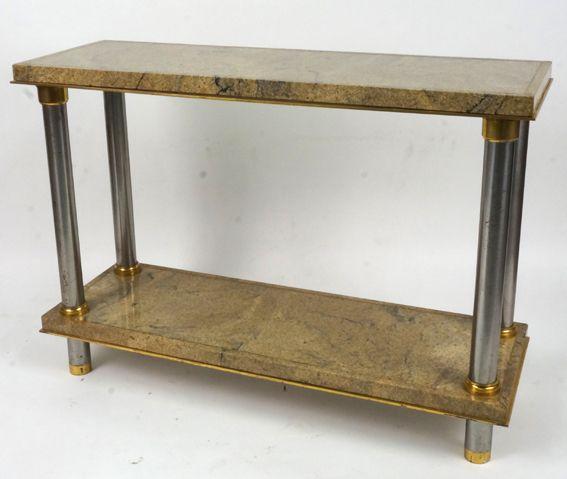 Console en métal et laiton, plateaux de marbre Charles Sévigny XXème siècle www.jifcollin.com