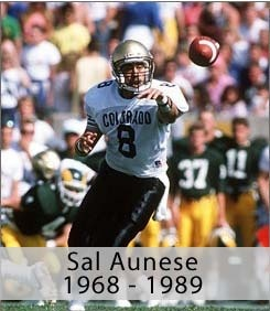 Sal Aunese #8 Colorado Buffaloes QB ...... During his incredible college Courier.... Sal was fighting cancer... In those days he was still a really encouraging and he would never give up.... Although his heart and mind would never give up, his body just couldn't fight anymore and lost the fight. Sal is still remembered by thousands! Be like Sal and never,ever give up in anything in life!