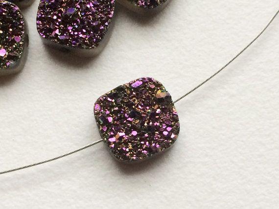 4 Pcs Purple Titanium Druzy Purple Druzy Drilled by gemsforjewels