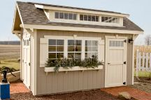 Our Estate shed is a customer favorite. We think it looks great with the planting box below the window. See more pictures of the Estate shed by visiting http://www.weaverbarns.com/craftsman.php