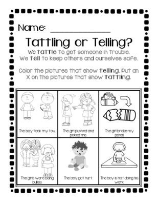Tattling vs. Telling from ZoeCohen on TeachersNotebook.com -  - Great practice and review to help students understand the difference between tattling to get someone in trouble and telling when there is a real problem!