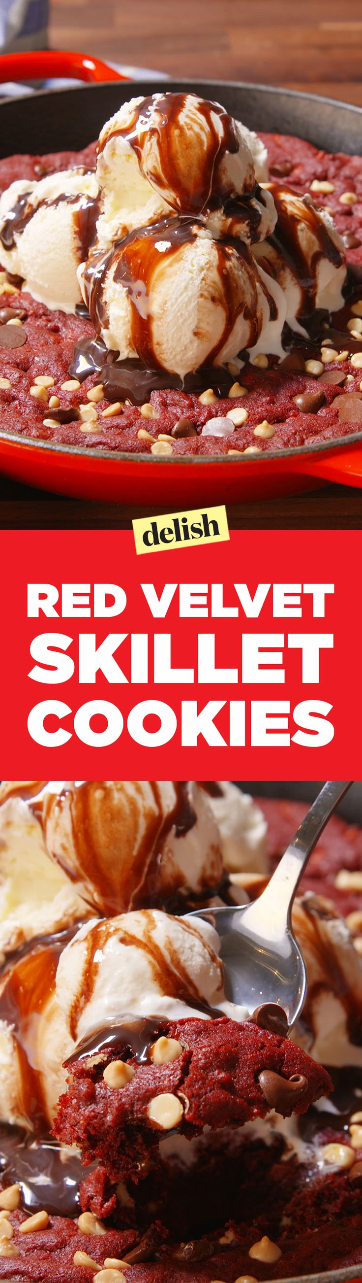 This Red Velvet Skillet Cookie might be better than red velvet cake...you be the judge. Get the recipe on Delish.com.