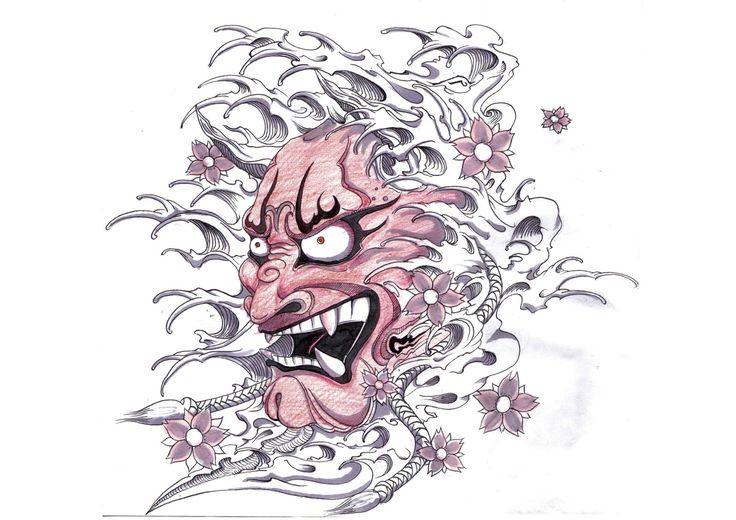 Japanese Death Mask Tattoo Meaning Hannya mask tattoo