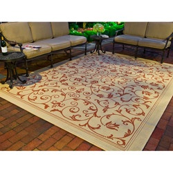 Indoor/ Outdoor Resorts Natural/ Terracotta Rug (9' x 12') | Overstock.com