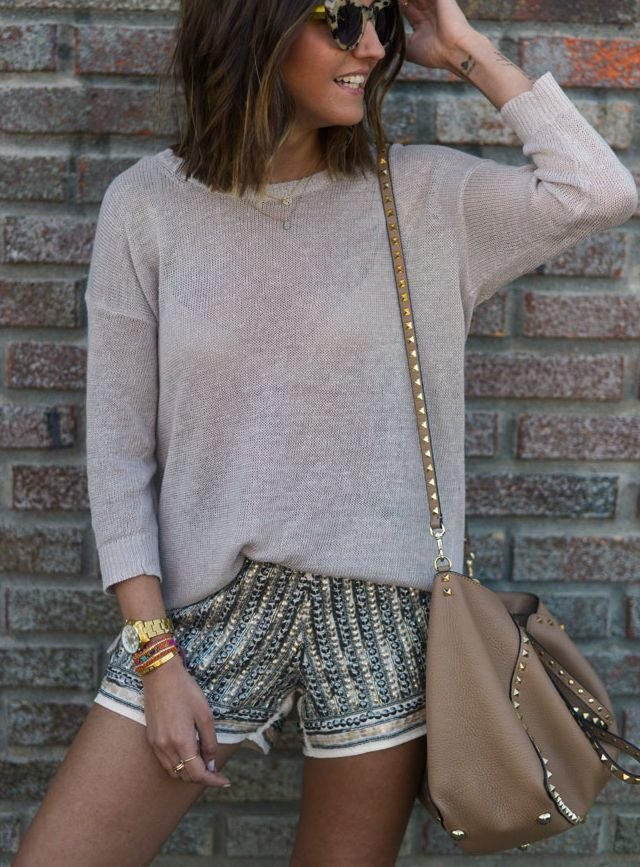 Beige sweater glossy shorts camel shoulder bag. Street summer casual Women fashion outfit clothing style apparel @roressclothes closet ideas